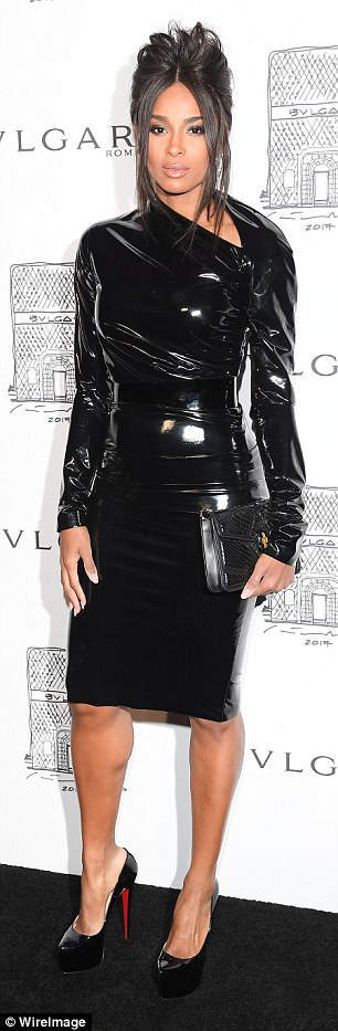 Ciara Shows Off Her Incredible Post-Baby Body In Latex LBD for BVLGARI's Store Opening In New York