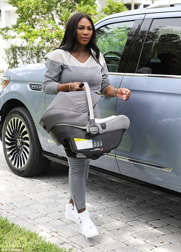 Proud Mom Serena Williams Carries Her Daughter In Car Seat, As She Prepares For Wedding To Alexis Ohanian