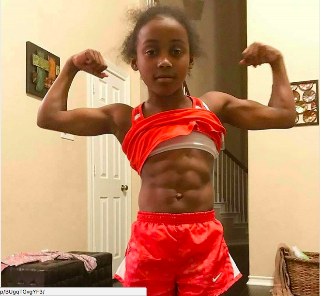 Social Media Users Outraged After Nine-Year-Old Shows Off Her Muscles And Six Pack