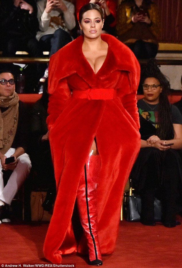 Ashley Graham Looks Knockout In Red Dress At Christian Siriano Show In NYC