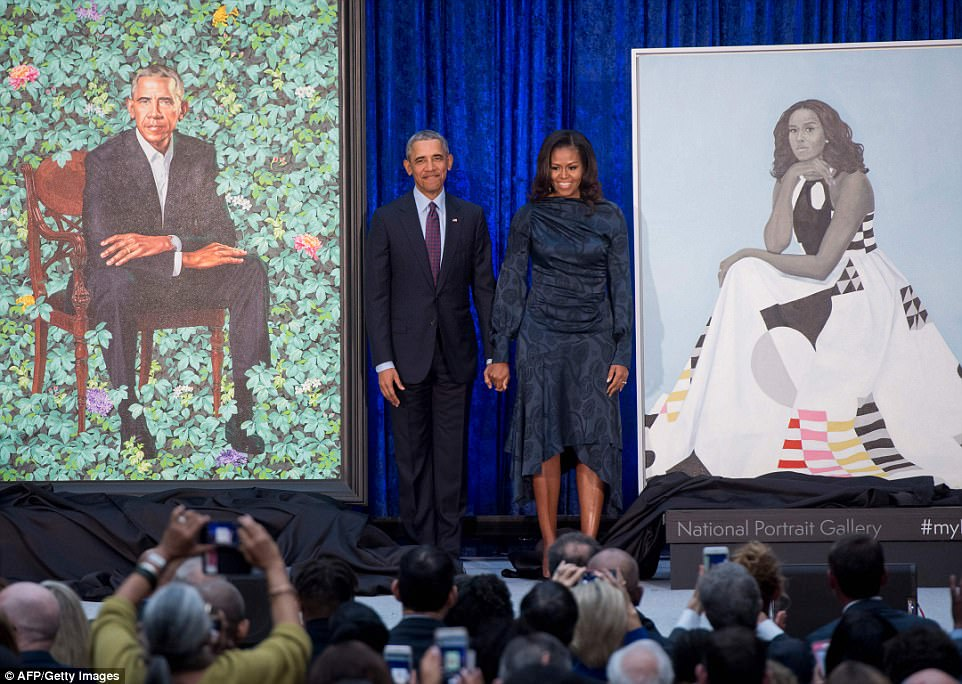 Obamas Unveil Their Official Portraits As Former President Compliments Artist For Capturing Michelle's 'Hotness'