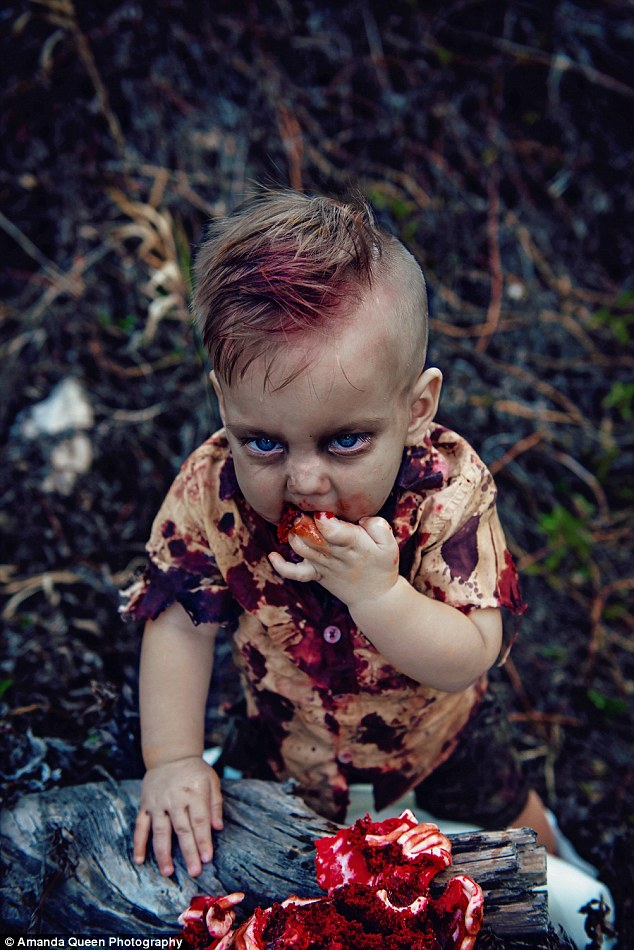 Mother Trolled For Having Zombie-Themed First Birthday Photoshoot For Her Son Showing Him Feasting On Bloody 'Brains' Cake