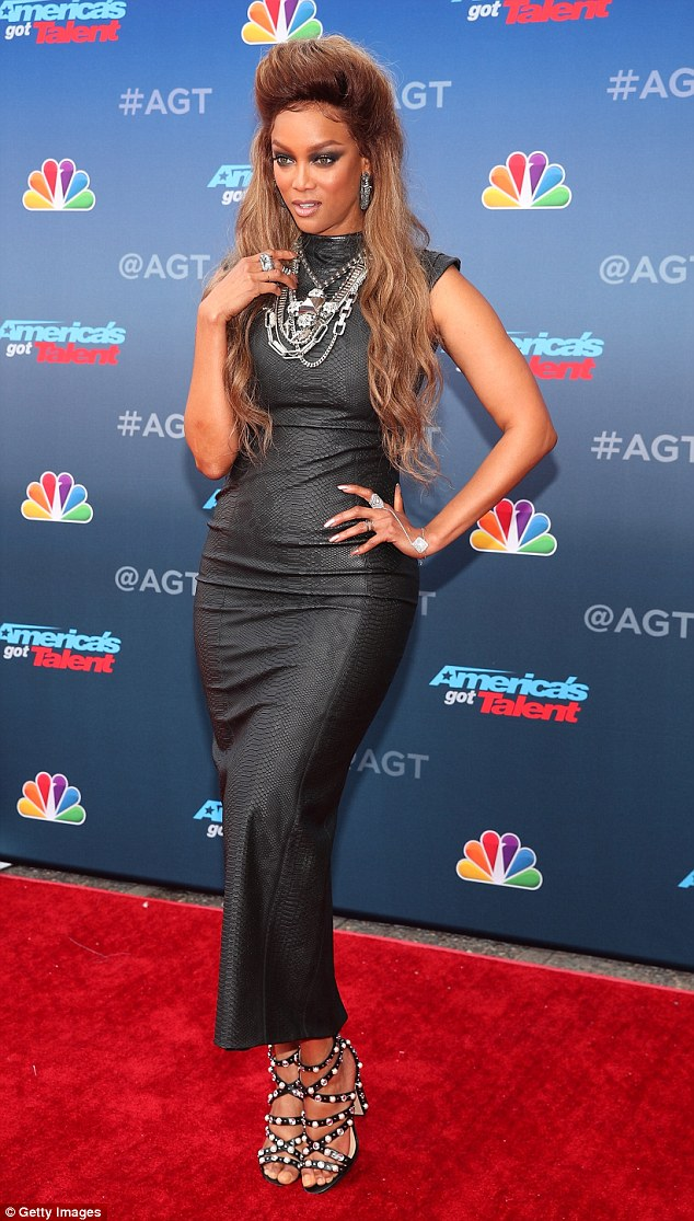 Tyra Banks Flaunts Her Curves In Skintight Sleeveless Dress At America's Got Talent Event